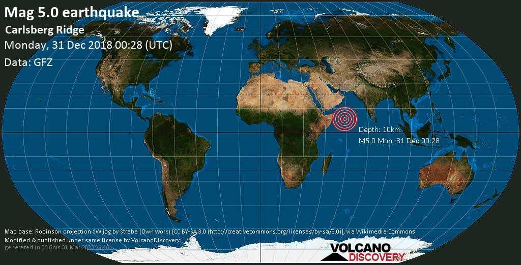 Moderate mag. 5.0 earthquake  - Carlsberg Ridge on Monday, 31 December 2018