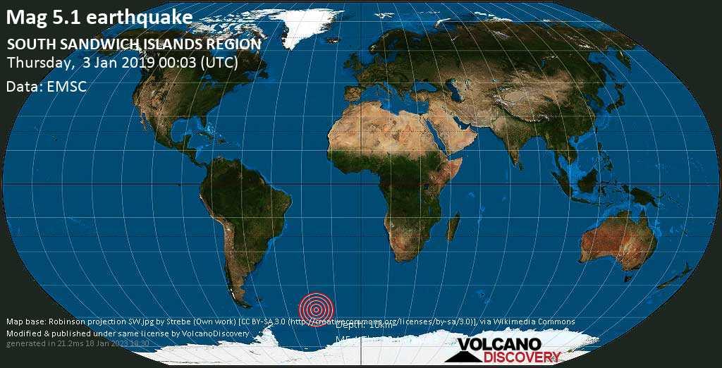 Moderate mag. 5.1 earthquake  - SOUTH SANDWICH ISLANDS REGION on Thursday, 3 January 2019
