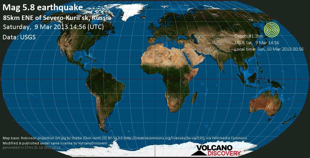 Moderate mag. 5.8 earthquake  - 85km ENE of Severo-Kuril\'sk, Russia on Saturday, 9 March 2013