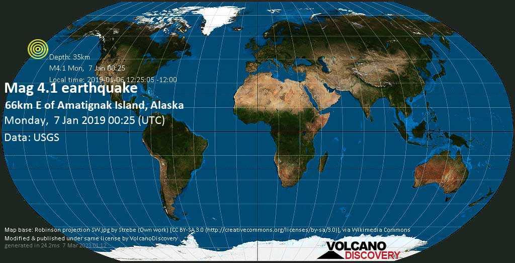 Light mag. 4.1 earthquake  - 66km E of Amatignak Island, Alaska on Monday, 7 January 2019