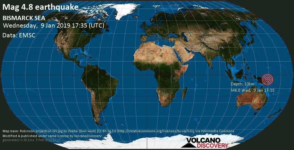 Light mag. 4.8 earthquake  - BISMARCK SEA on Wednesday, 9 January 2019