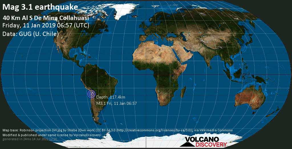 Minor mag. 3.1 earthquake  - 40 km al S de Mina Collahuasi on Friday, 11 January 2019