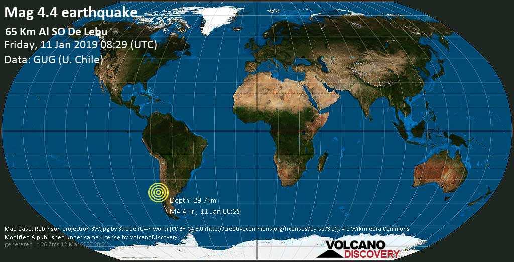Light mag. 4.4 earthquake  - 65 km al SO de Lebu on Friday, 11 January 2019