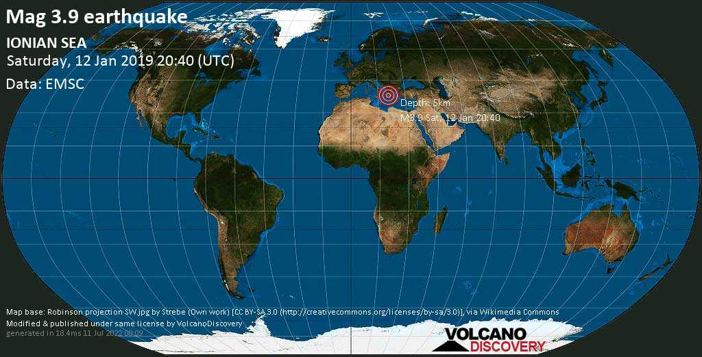 Minor mag. 3.9 earthquake  - IONIAN SEA on Saturday, 12 January 2019