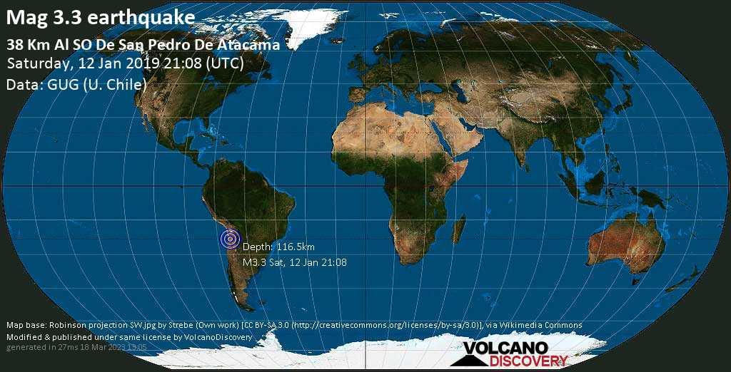 Minor mag. 3.3 earthquake  - 38 km al SO de San Pedro de Atacama on Saturday, 12 January 2019
