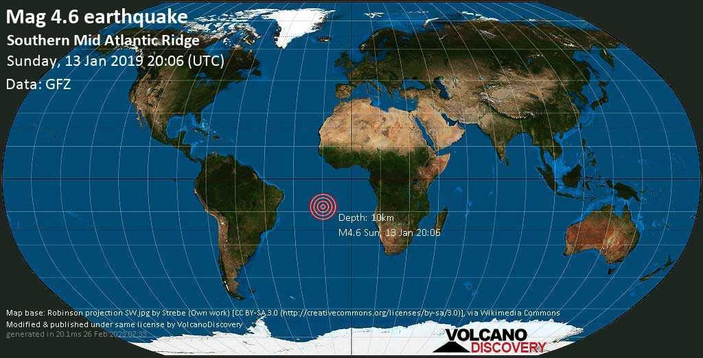 Light mag. 4.6 earthquake  - Southern Mid Atlantic Ridge on Sunday, 13 January 2019