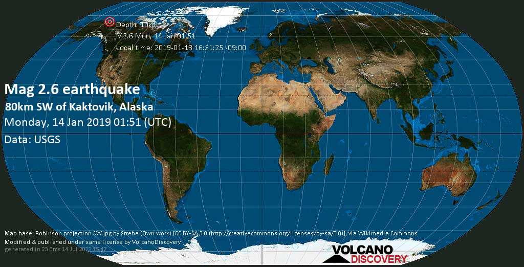 Minor mag. 2.6 earthquake  - 80km SW of Kaktovik, Alaska on Monday, 14 January 2019