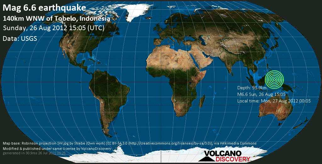 Strong mag. 6.6 earthquake  - 140km WNW of Tobelo, Indonesia on Sunday, 26 August 2012