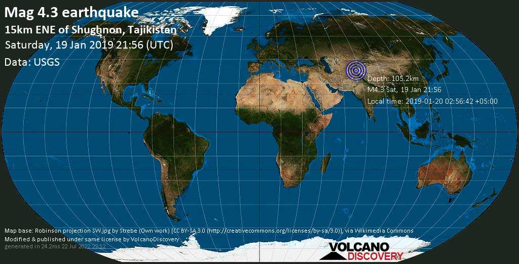 Light mag. 4.3 earthquake  - 15km ENE of Shughnon, Tajikistan on Saturday, 19 January 2019