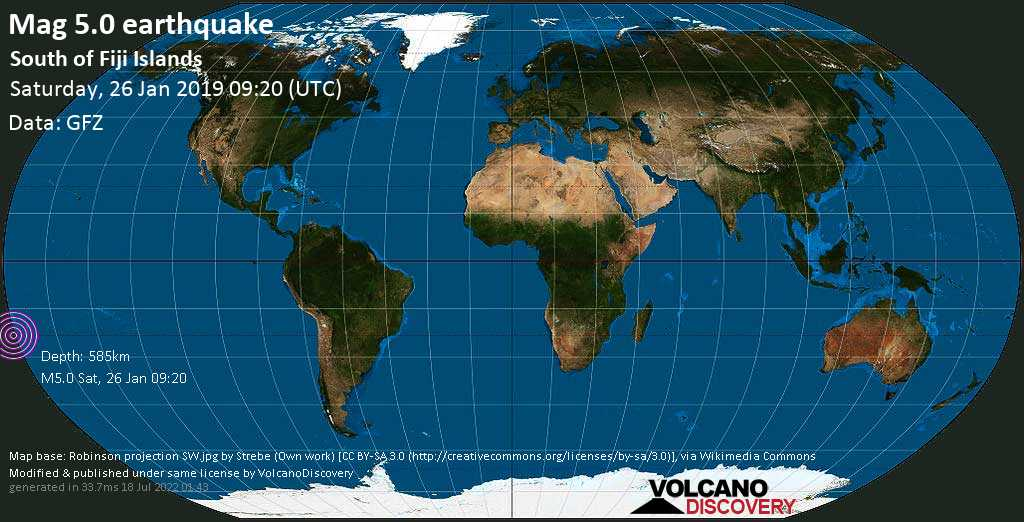 Moderate mag. 5.0 earthquake  - South of Fiji Islands on Saturday, 26 January 2019