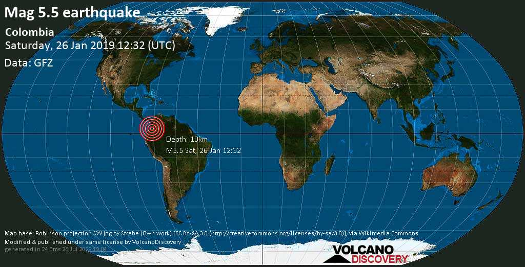 Moderate mag. 5.5 earthquake  - Colombia on Saturday, 26 January 2019