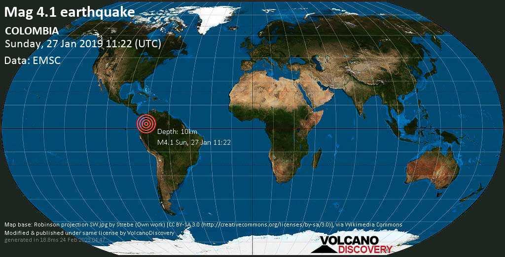 Light mag. 4.1 earthquake  - COLOMBIA on Sunday, 27 January 2019