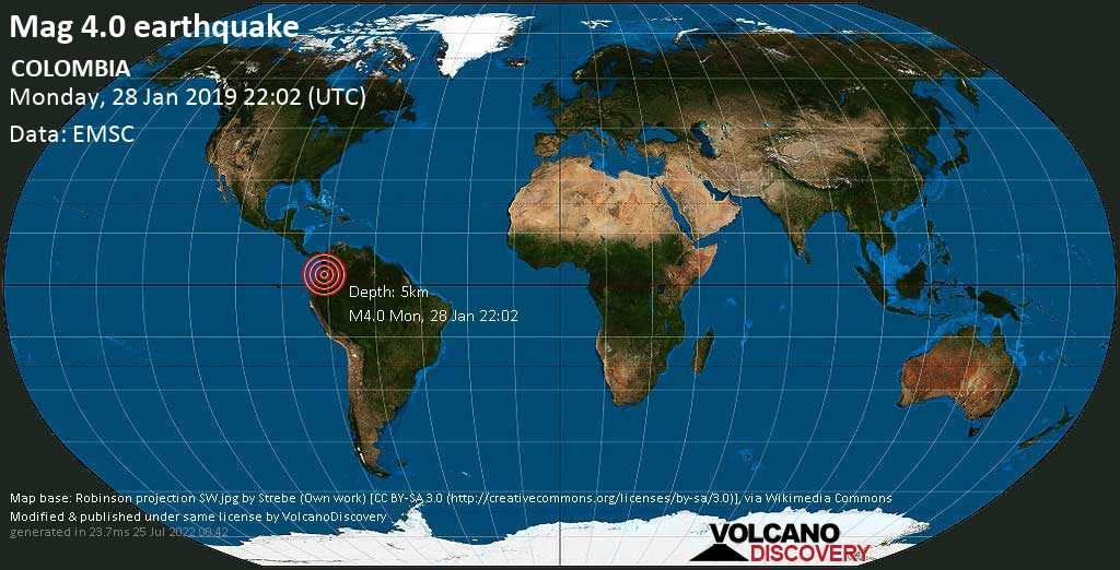 Light mag. 4.0 earthquake  - COLOMBIA on Monday, 28 January 2019
