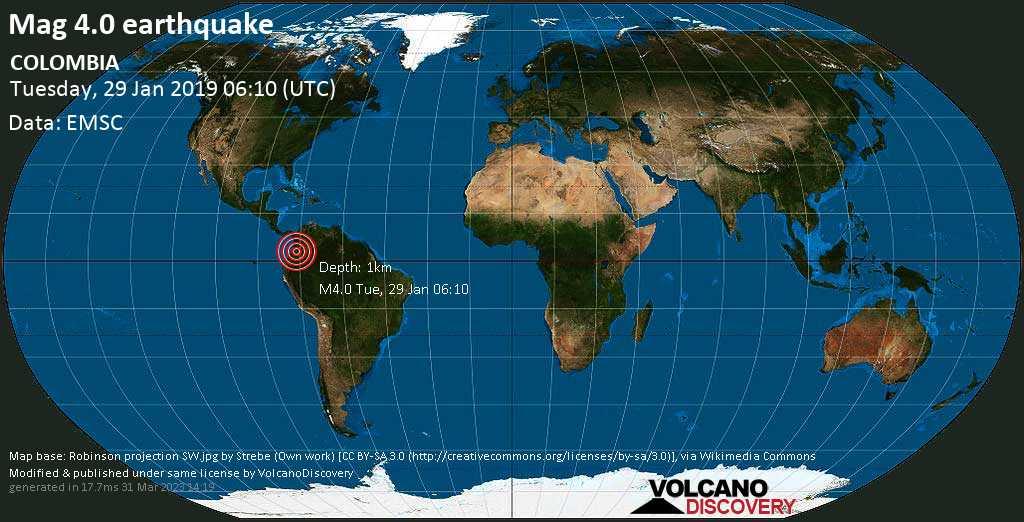 Light mag. 4.0 earthquake  - COLOMBIA on Tuesday, 29 January 2019