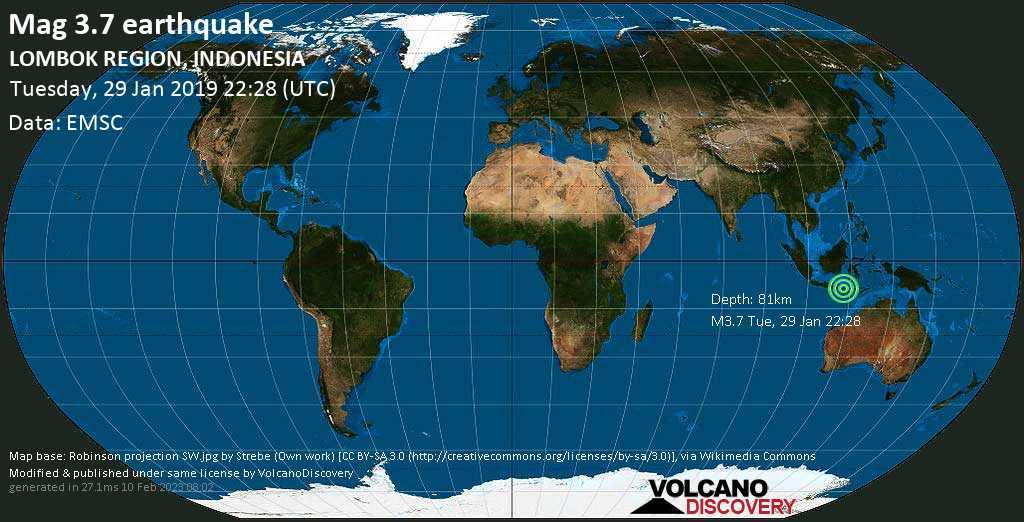 Minor mag. 3.7 earthquake  - LOMBOK REGION, INDONESIA on Tuesday, 29 January 2019
