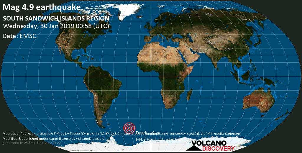 Light mag. 4.9 earthquake  - SOUTH SANDWICH ISLANDS REGION on Wednesday, 30 January 2019