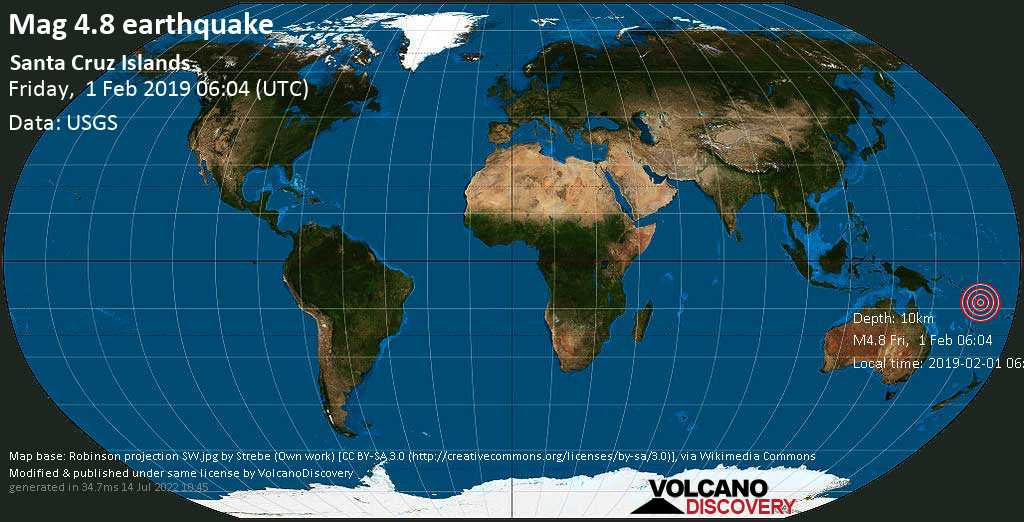 Light mag. 4.8 earthquake  - Santa Cruz Islands on Friday, 1 February 2019