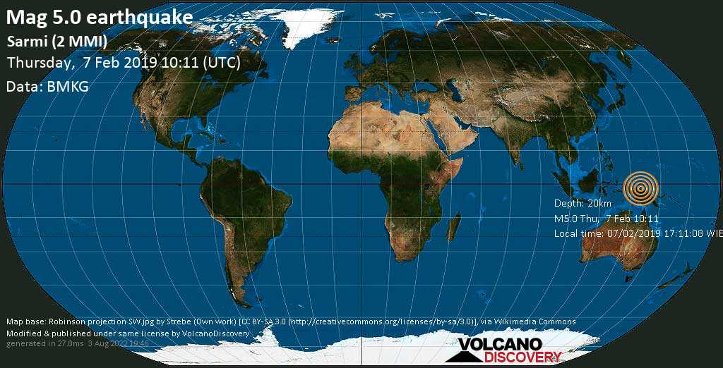 Moderate mag. 5.0 earthquake  - Sarmi (2 MMI) on Thursday, 7 February 2019
