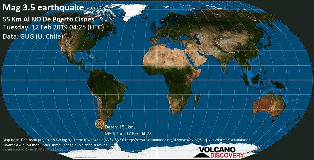 Minor mag. 3.5 earthquake  - 55 km al NO de Puerto Cisnes on Tuesday, 12 February 2019