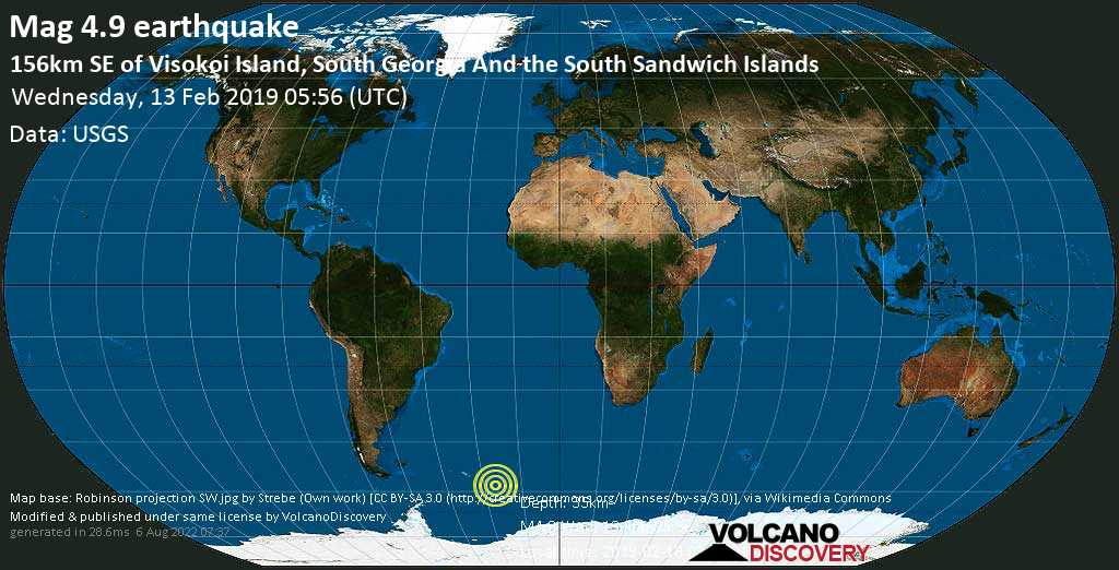 Light mag. 4.9 earthquake  - 156km SE of Visokoi Island, South Georgia and the South Sandwich Islands on Wednesday, 13 February 2019