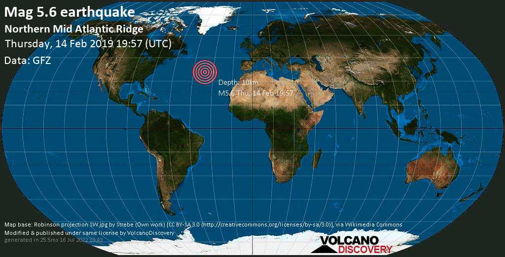 Moderate mag. 5.6 earthquake  - Northern Mid Atlantic Ridge on Thursday, 14 February 2019