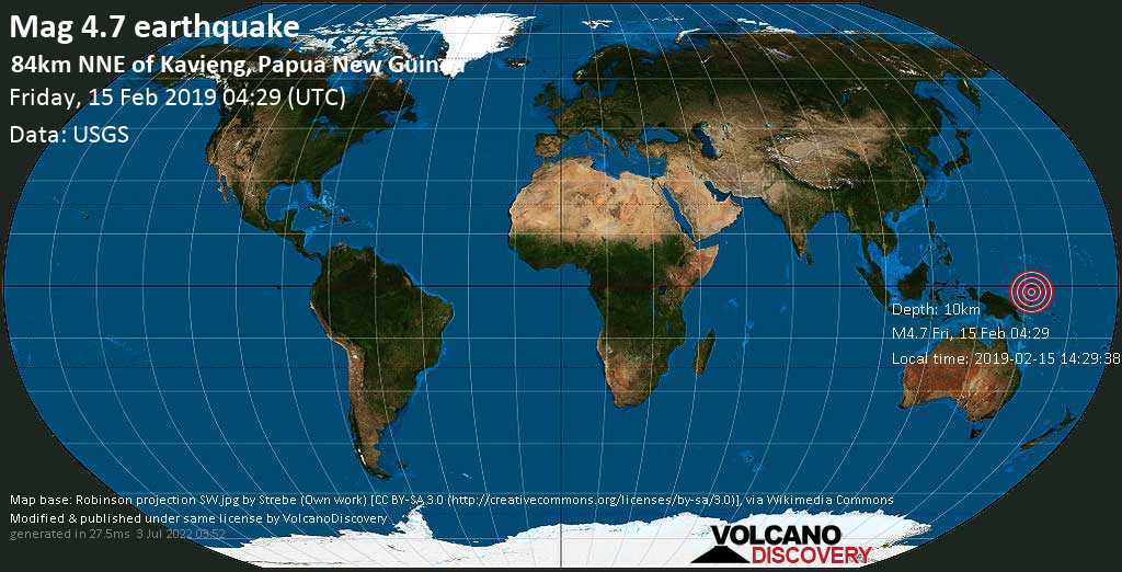Light mag. 4.7 earthquake  - 84km NNE of Kavieng, Papua New Guinea on Friday, 15 February 2019