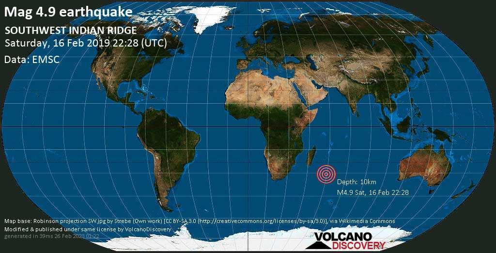 Light mag. 4.9 earthquake  - SOUTHWEST INDIAN RIDGE on Saturday, 16 February 2019