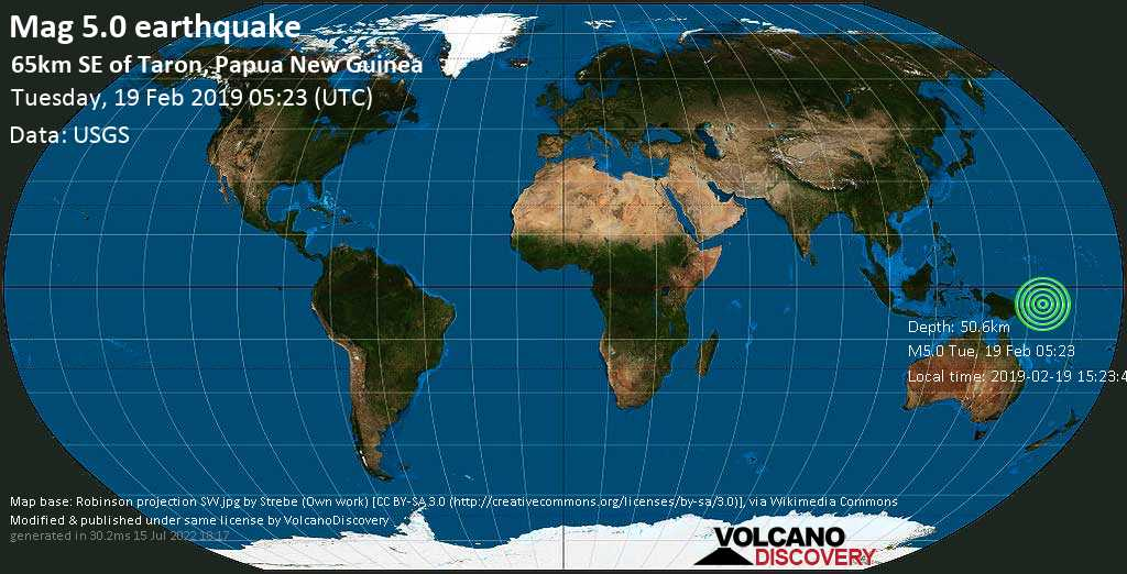 Moderato terremoto magnitudine 5.0 - 65km SE of Taron, Papua New Guinea martedí, 19 febbraio 2019