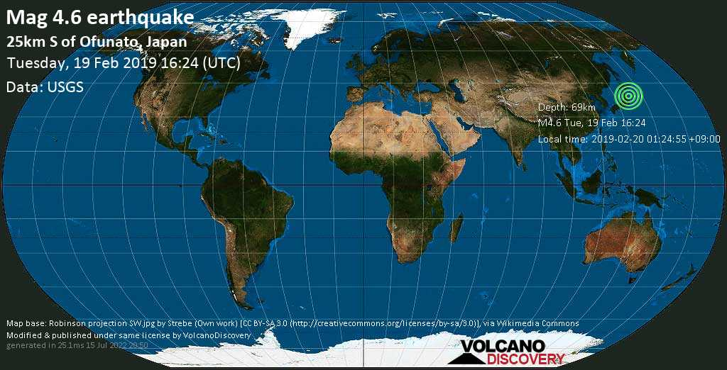 Light mag. 4.6 earthquake  - 25km S of Ofunato, Japan on Tuesday, 19 February 2019