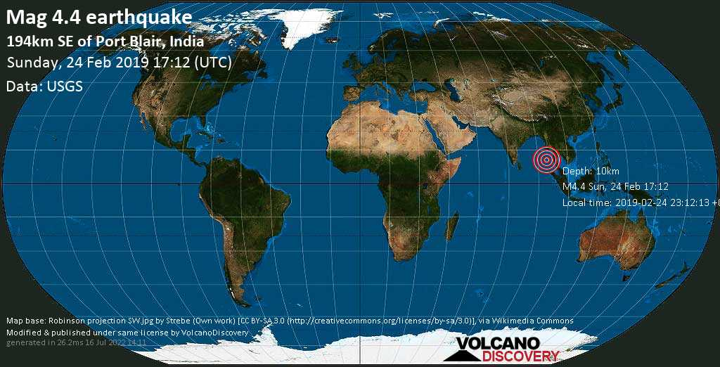 Light mag. 4.4 earthquake  - 194km SE of Port Blair, India on Sunday, 24 February 2019