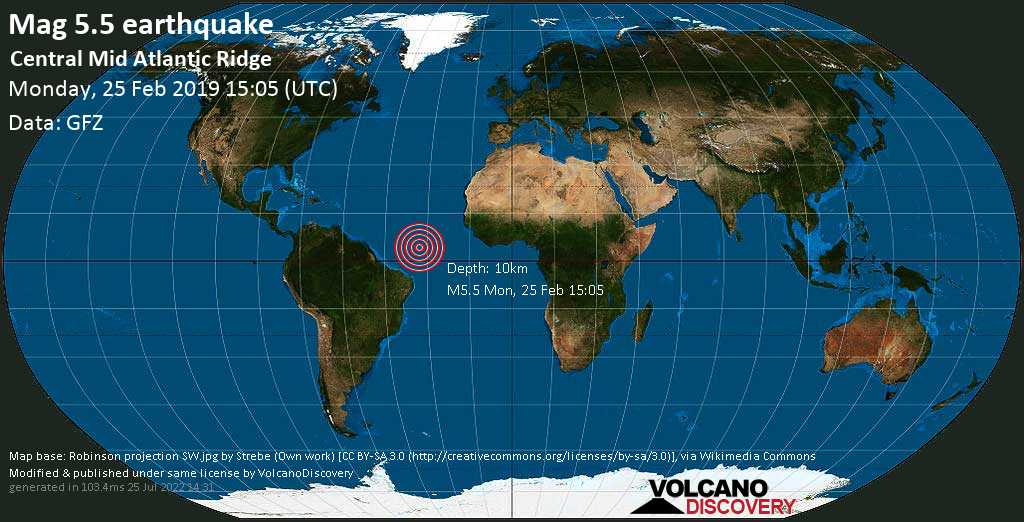 Moderate mag. 5.5 earthquake  - Central Mid Atlantic Ridge on Monday, 25 February 2019
