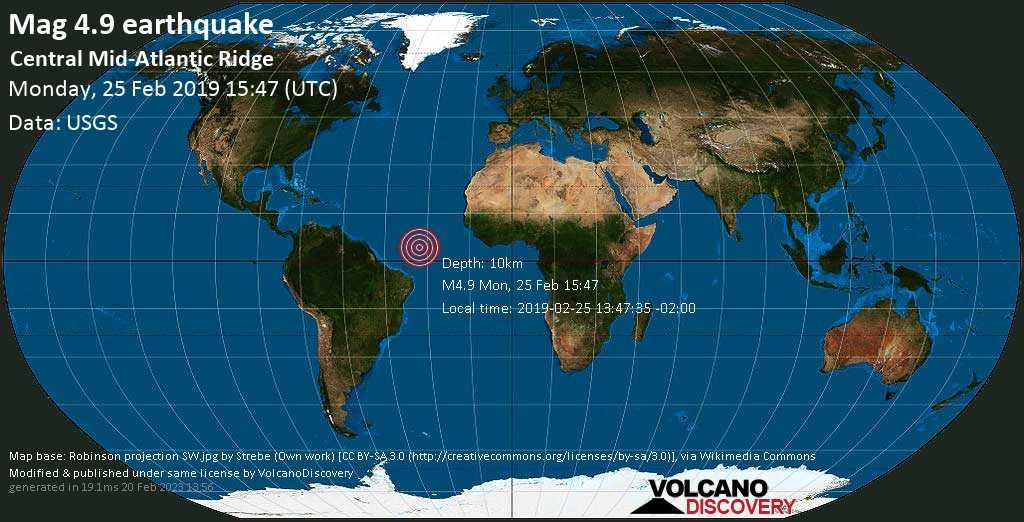 Light mag. 4.9 earthquake  - Central Mid-Atlantic Ridge on Monday, 25 February 2019