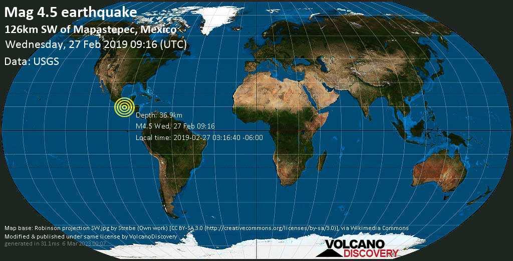 Light mag. 4.5 earthquake  - 126km SW of Mapastepec, Mexico on Wednesday, 27 February 2019