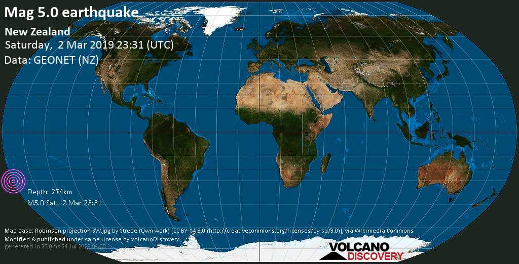 Moderate mag. 5.0 earthquake  - New Zealand on Saturday, 2 March 2019