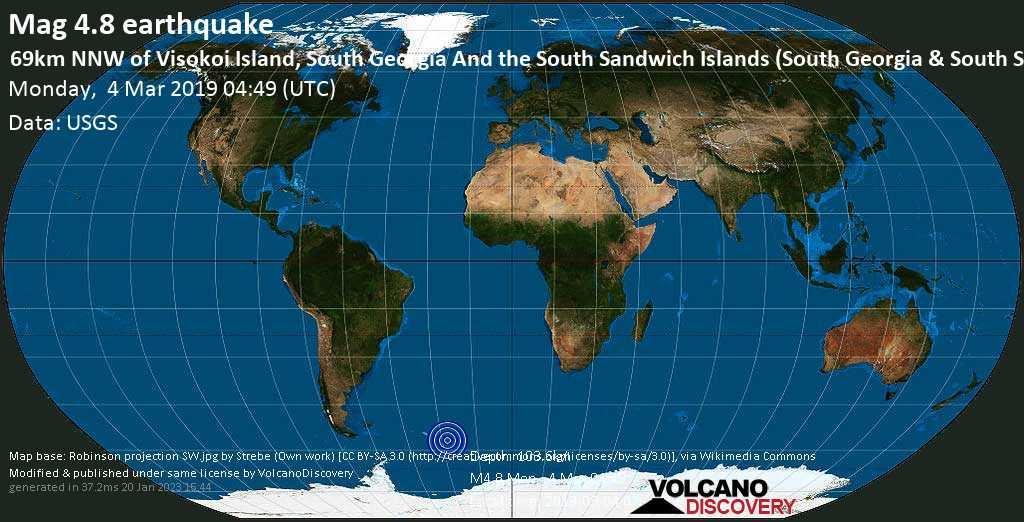Light mag. 4.8 earthquake  - 69km NNW of Visokoi Island, South Georgia and the South Sandwich Islands (South Georgia & South Sandwich Islands) on Monday, 4 March 2019
