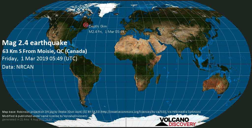Minor mag. 2.4 earthquake  - 63 km S from Moisie, QC (Canada) on Friday, 1 March 2019