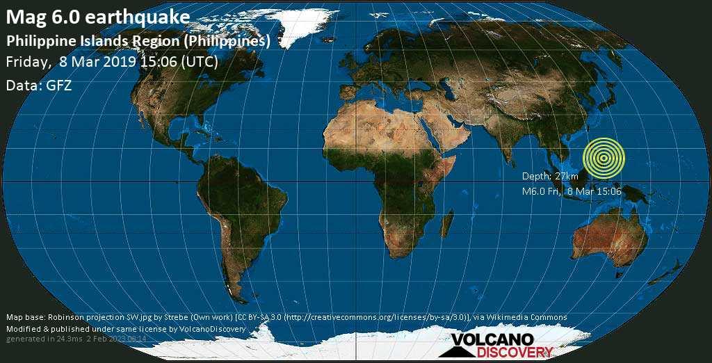 Starkes Erdbeben der Stärke 6.0 - Philippine Islands Region (Philippines) am Freitag, 08. Mär. 2019