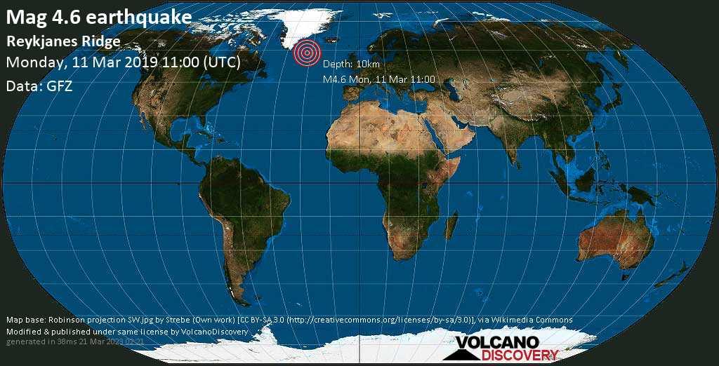 Light mag. 4.6 earthquake  - Reykjanes Ridge on Monday, 11 March 2019