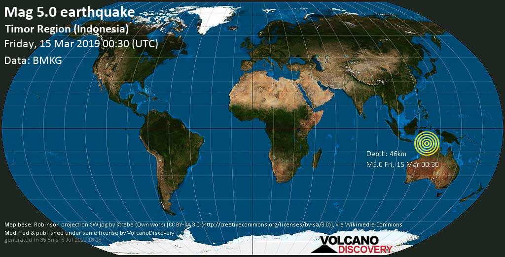 M 5.0 quake: Timor Region (Indonesia) on Fri, 15 Mar 00h30