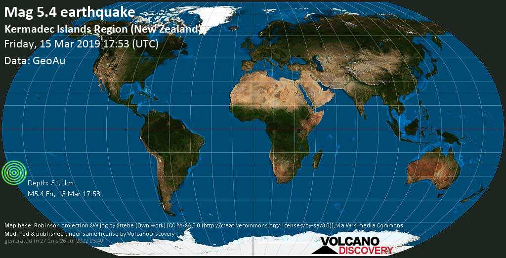Moderate mag. 5.4 earthquake  - Kermadec Islands Region (New Zealand) on Friday, 15 March 2019