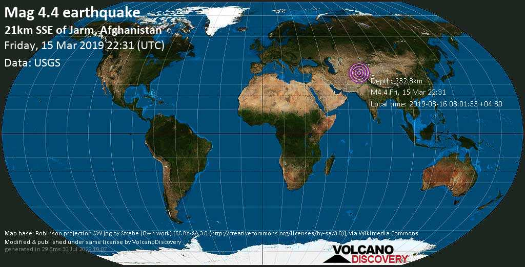 Light mag. 4.4 earthquake  - 21km SSE of Jarm, Afghanistan on Friday, 15 March 2019