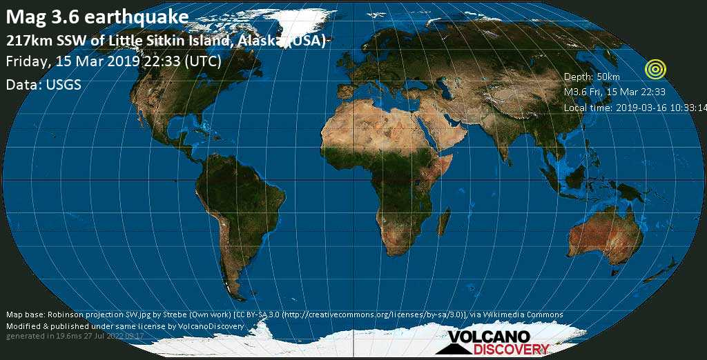 Minor mag. 3.6 earthquake  - 217km SSW of Little Sitkin Island, Alaska (USA) on Friday, 15 March 2019