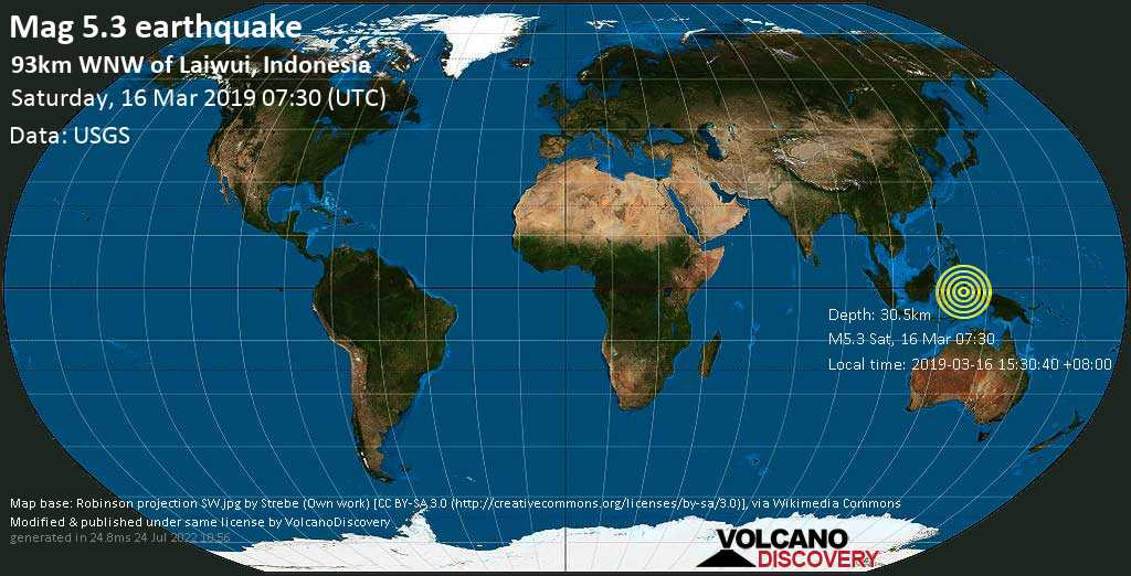 Moderate mag. 5.3 earthquake  - 93km WNW of Laiwui, Indonesia on Saturday, 16 March 2019