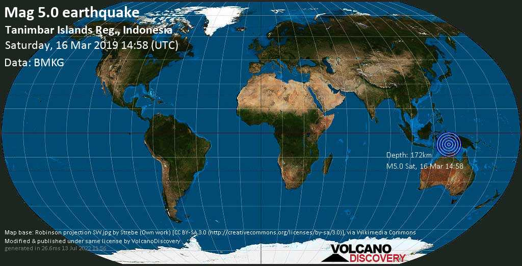 Moderate mag. 5.0 earthquake  - Tanimbar Islands Reg., Indonesia on Saturday, 16 March 2019