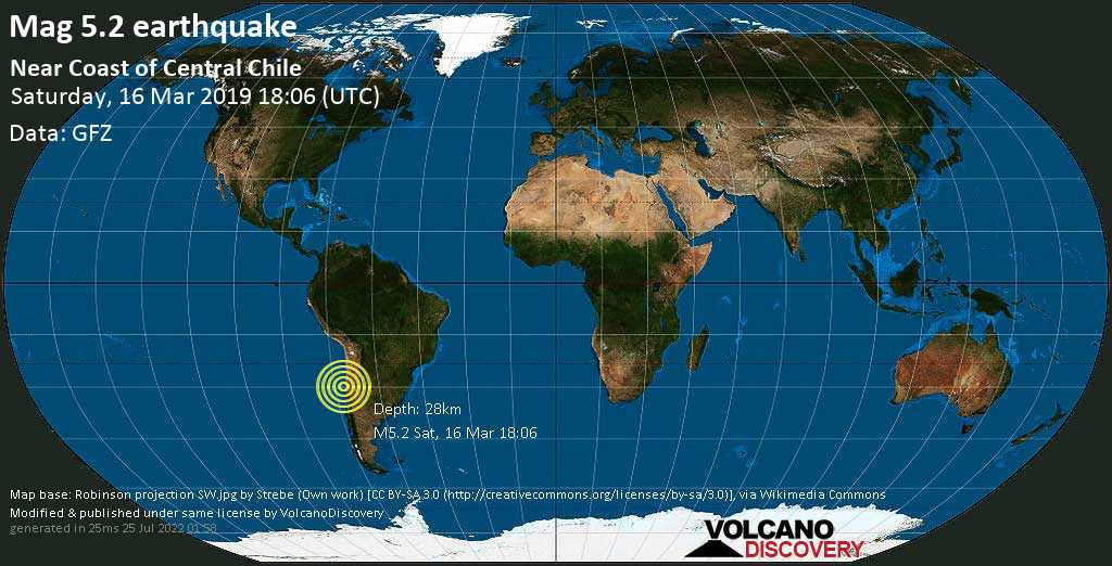 Moderate mag. 5.2 earthquake  - Near Coast of Central Chile on Saturday, 16 March 2019