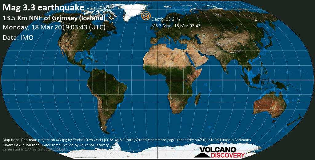 Minor mag. 3.3 earthquake  - 13.5 km NNE of Grímsey (Iceland) on Monday, 18 March 2019