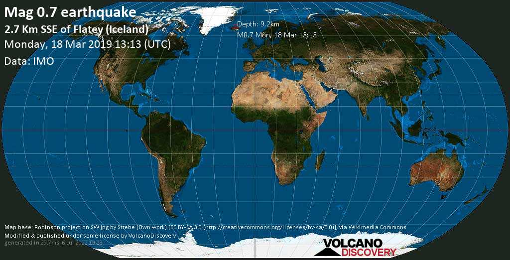 Minor mag. 0.7 earthquake  - 2.7 km SSE of Flatey (Iceland) on Monday, 18 March 2019