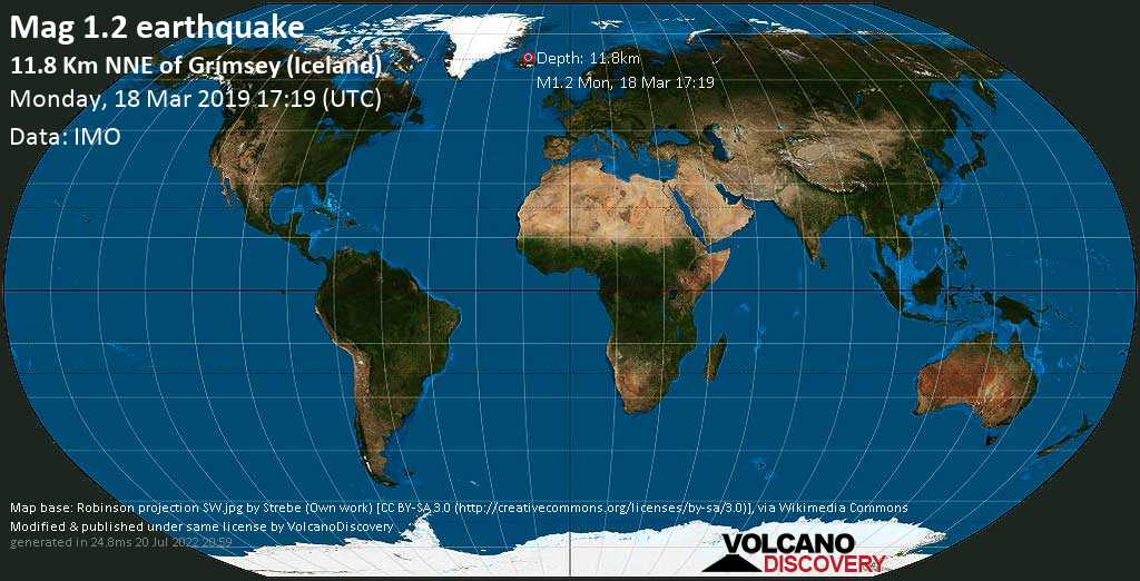 Minor mag. 1.2 earthquake  - 11.8 km NNE of Grímsey (Iceland) on Monday, 18 March 2019