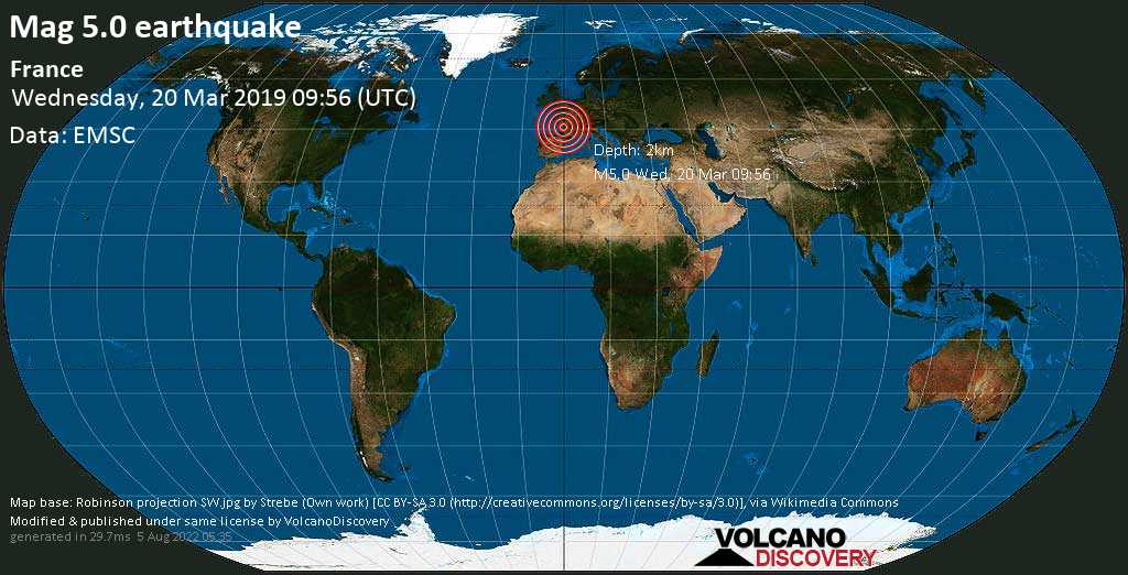 Moderate mag. 5.0 earthquake  - France on Wednesday, 20 March 2019