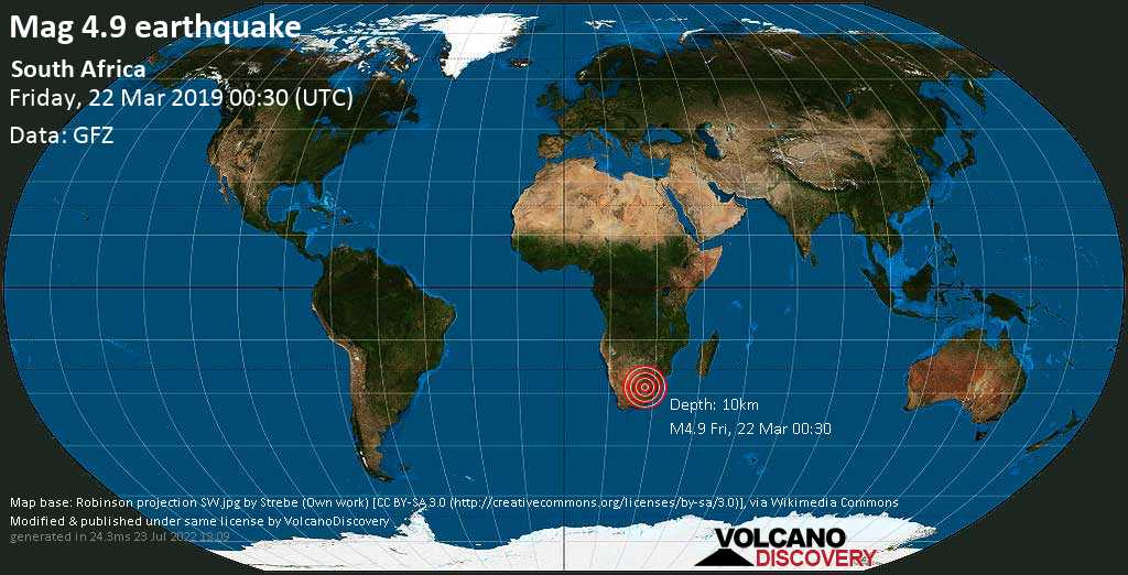 Light mag. 4.9 earthquake  - South Africa on Friday, 22 March 2019